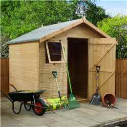 6 x 8 Premier Reverse Tongue and Groove Apex Garden Shed With Higher Ridge, 2 Windows And Single Door (12mm Tongue and Groove Floor and Roof) - 48HR + SAT Delivery*