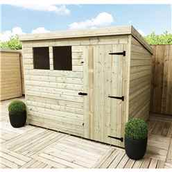 7 x 6 Pressure Treated Tongue and Groove Pent Shed With 2 Windows And Single Door