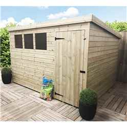 10 x 8 Pressure Treated Tongue and Groove Pent Shed With 3 Windows And Single Door