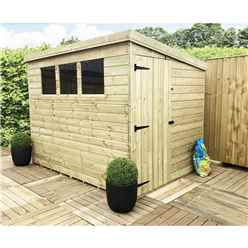 6 x 5 Pressure Treated Tongue and Groove Pent Shed With 3 Windows And Side Door