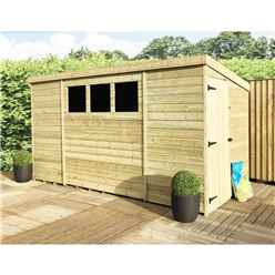 10 x 8 Pressure Treated Tongue and Groove Pent Shed With 3 Windows And Side Door