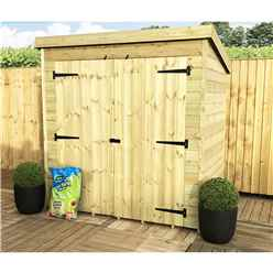 6 x 6 Windowless Pressure Treated Tongue and Groove Pent Shed with Double Doors