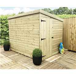 8 x 5 Windowless Pressure Treated Tongue and Groove Pent Shed with Side Door