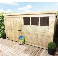 12 x 7 Large Pressure Treated Tongue and Groove Pent Shed With 3 Windows And Double Doors