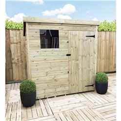 5 x 4 Pressure Treated Tongue and Groove Pent Shed With 1 Window And Single Door