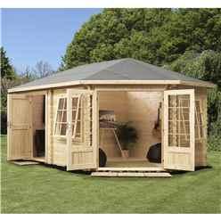 5m x 3m Premier PLUS Corner Log Cabin (Single Glazing) + Free Floor & Felt & Safety Glass (28mm) **LEFT