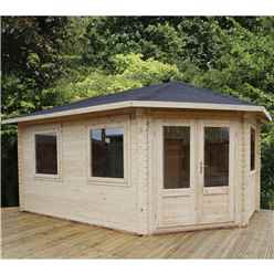 5m x 3m Premier Apex GRANDE Corner Log Cabin (Single Glazing) + Free Floor & Felt & Safety Glass (28mm) - Right Door