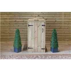 Single Redwood Pressure Treated Wheelie Bin Store - 240 Litre Bin