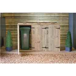 Triple Redwood Pressure Treated Wheelie Bin Store - 240 Litre Bins