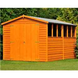 10 x 8 Dip Treated Overlap Apex Wooden Garden Shed With 6 Windows And Double Doors (10mm Solid OSB Floor)