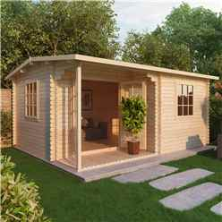 4m x 3m  Premier Home Office Log Cabin (Double Glazing) + Free Floor & Felt & Safety Glass (34mm)