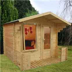 2.50m x 2.72m Budget Log Cabin Including Veranda (2ft 7 inches (0.8m) - (19mm Tongue and Groove) + Free Floor & Felt & Safety Glass