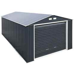 12 x 32 Deluxe Anthracite Metal Garage (3.72m x 9.65m)