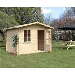 3m x 2.4m Premier Apex Log Cabin (Single Glazing) + Free Floor & Felt & Safety Glass (44mm)