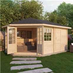 5m x 3m Premier PLUS Corner Log Cabin (Single Glazing)  + Free Floor & Felt & Safety Glass (34mm) **LEFT