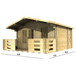 4m x 3m Log Cabin (2045) - Double Glazing (44mm Wall Thickness)