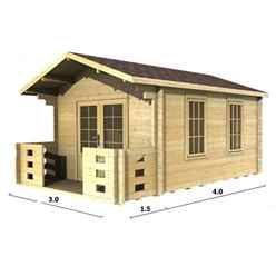 3m x 4m Log Cabin (2016) - Double Glazing (44mm Wall Thickness)