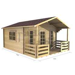 4m x 3m Log Cabin (2057) - Double Glazing (70mm Wall Thickness)