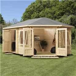 5m x 3m Premier PLUS Corner Log Cabin (Single Glazing) + Free Floor & Felt & Safety Glass (34mm) **RIGHT