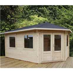 5m x 3m Premier Apex GRANDE Corner Log Cabin (Double Glazing) + Free Floor & Felt & Safety Glass (34mm) - Right Door