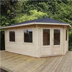 5m x 3m Premier Apex GRANDE Corner Log Cabin (Single Glazing) + Free Floor & Felt & Safety Glass (44mm) - Right Door