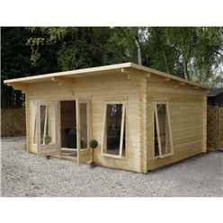 5.2m x 4m Premier Pent Log Cabin (Double Glazing) + Free Floor & Felt & Safety Glass (34mm Tongue and Groove)