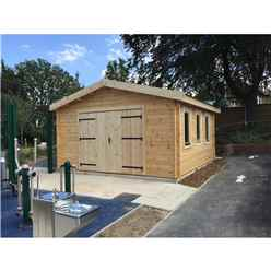 4m x 5m Garage Log Cabin - Double Glazing (70mm Wall Thickness)
