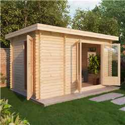 4m x 2.5m Premier Garden Pent Log Cabin (Single Glazing)  + Free Floor & Felt & Safety Glass (44mm Tongue and Groove)