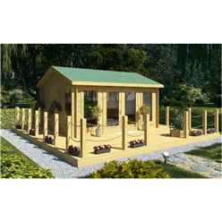 4.5m x 3.5m Log Cabin (2075) - Double Glazing (70mm Wall Thickness)