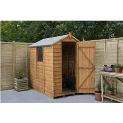 6 x 4 Overlap Apex Wooden Garden Shed With Single Door and 1 Window