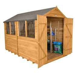 10 x 8 Select Overlap Apex Wooden Garden Shed With 4 Windows And Double Doors