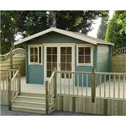 3.59m x 4.19m Log Cabin With Fully Glazed Double Doors - 70mm Wall Thickness