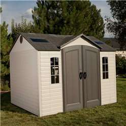 **PRE-ORDER: DUE BACK IN STOCK 17TH JULY** 10 x 8 Life Plus Single Entrance Plastic Apex Shed with Plastic Floor  + 2 windows + 1 Opening Window (3.05m x 2.43m)