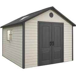 **PRE-ORDER: DUE BACK IN STOCK END OF JUNE** 11 x 11 Life Plus Plastic Apex Shed with Plastic Floor  + 2 windows (3.37m x 3.37m)