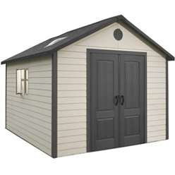 **PRE-ORDER: DUE BACK IN STOCK END OF JUNE** 11 x 13.5 Life Plus Plastic Apex Shed with Plastic Floor  + 2 windows (3.37m x 4.13m)