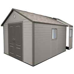 **PRE-ORDER: DUE BACK IN STOCK END OF AUGUST** 11 x 16 Life Plus Plastic Apex Shed with Plastic Floor  + 4 windows (3.37m x 4.89m)