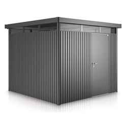 "8 x 8 Premier Heavy Duty Metal ""Higher Ridge Height"" Silver Metallic Shed with Double Door (2.75m x 2.75m)"