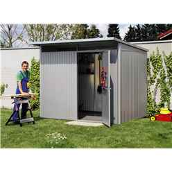 8 x 7 Large Premier Heavy Duty Metal Metallic Silver Shed  (2.6m x 2.2m)