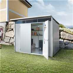 8 x 10 X Large Premier Heavy Duty Metal Metallic Silver With Double Doors (2.6m x 3m)
