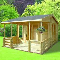 3.89m x 3.69m APEX LOG CABIN - 44MM TONGUE AND GROOVE LOGS