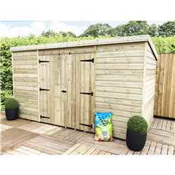 10 x 3 Pressure Treated Windowless Tongue and Groove Pent Shed with Double Doors (Centre)