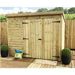 7 x 3 Windowless Pressure Treated Tongue and Groove Pent Shed with Double Doors