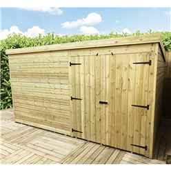 14 x 4 Windowless Pressure Treated Tongue and Groove Pent Shed with Double Doors