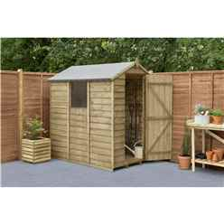 6 x 4 Pressure Treated Overlap Apex Wooden Garden Shed With 1 Window - Assembled