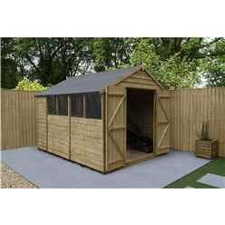 10 x 8 Pressure Treated Overlap Apex Wooden Garden Shed - Double Doors - Windows - Assembled
