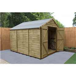 10 x 8 Pressure Treated Overlap Apex Wooden Garden Shed - Double Doors - Windowless - Assembled