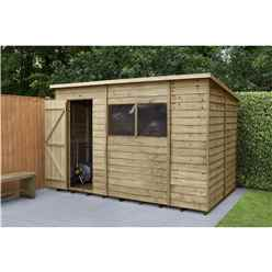 10 x 6 Pressure Treated Overlap Wooden Pent Shed - Assembled