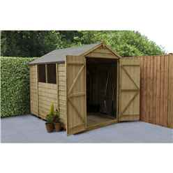 8 x 6 Pressure Treated Overlap Apex Wooden Garden Shed -  Double Door
