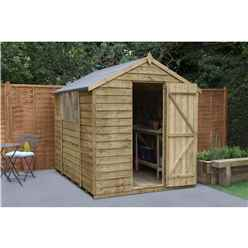 8 x 6 Pressure Treated Overlap Apex Wooden Garden Shed -  Single Door - Assembled