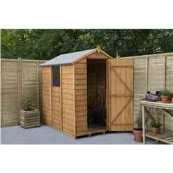 6 x 4 Overlap Apex Wooden Garden Shed With Single Door and 1 Window - Assembled